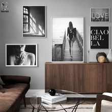 Abstract Modern Shadow Girl Canvas Painting Black White Salon LOVE Poster Prints Nordic Wall Art Pictures Living Room Home Decor