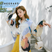 Cheerart New Arrival 2019 Designer Blouse Women Long Sleeve Button Up Shirt Loose Top Fashion Printed Blouse Clothes