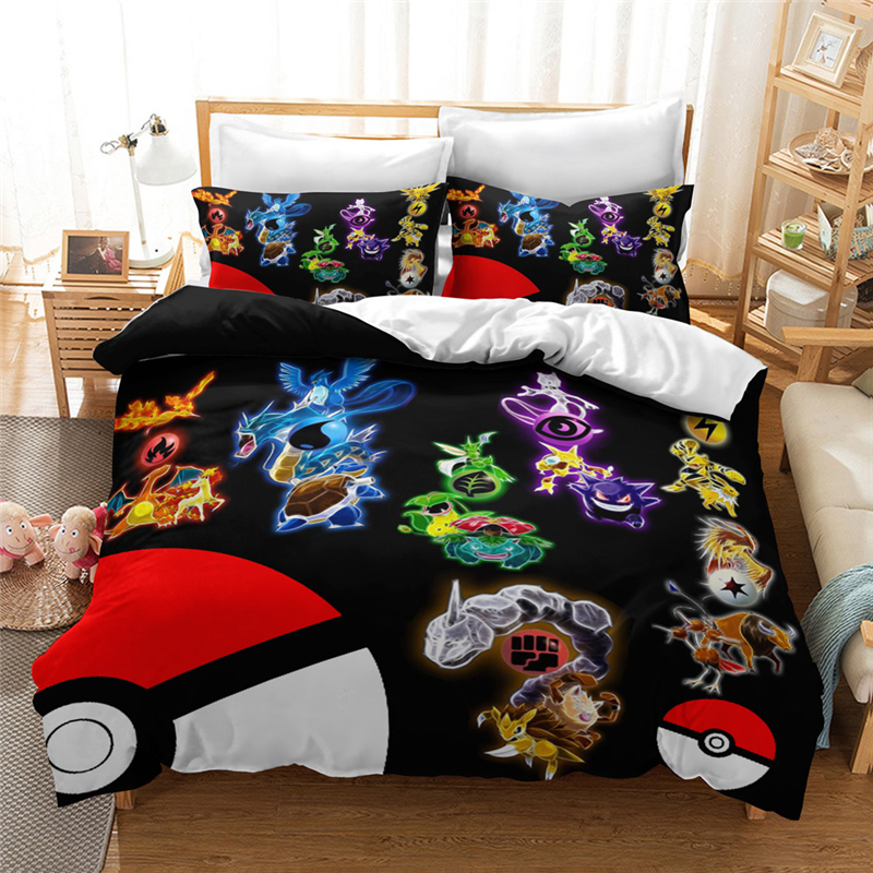Hot Sale Pokemon 3d Bedding Set Children Duvet Cover Set Pillowcase Cartoon Bed Sets Pikachu Bedding Sets Bedclothes Bed Linen