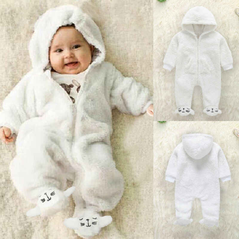 0-3 Months Baby Hooded Rompers Flannel Winter Outfits Boys Girls Snowsuits Feet Covered Jumpsuit