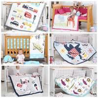 i baby Baby Bedding Set 9pcs Crib Bedding Set Newborn Cotton Printed Cot Fitted Sheet Duvet Pillow Bumper Sets in Crib Girl Boy