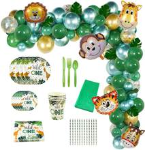 Forest Animal Tableware Jungle Safari Party Plates Cups Balloon Garland Birthday Decoration Wild One 1st Bithday Party Supplies