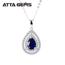 Blue Sapphire Sterling Silver Pendants for Women Fine Jewelr