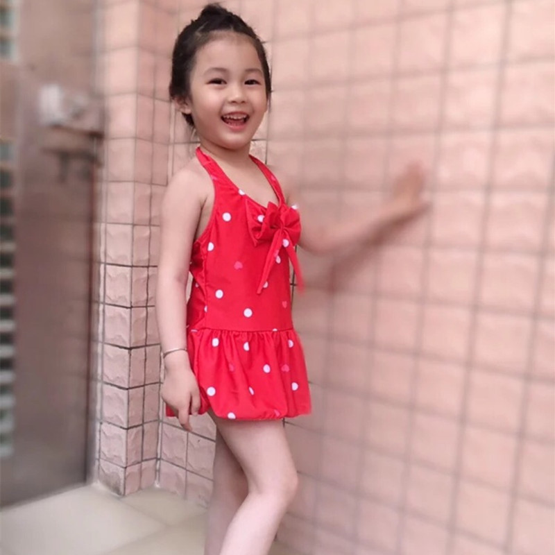 BABY'S Bathing Suit Girls One-piece Baby Children Chinlon Bathing Suit 6-9 Month 1-2-3-4-5-6-7-Year-Old