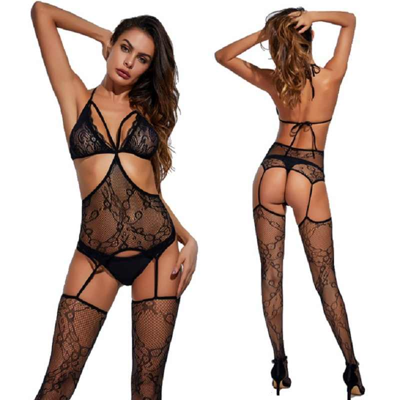 Sexy Open Kruis Fetish Bodystocking Vrouwen Erotische Lingerie Porno Babydoll Crotchless Body Pak Ondergoed Kostuums Latex Catsuit