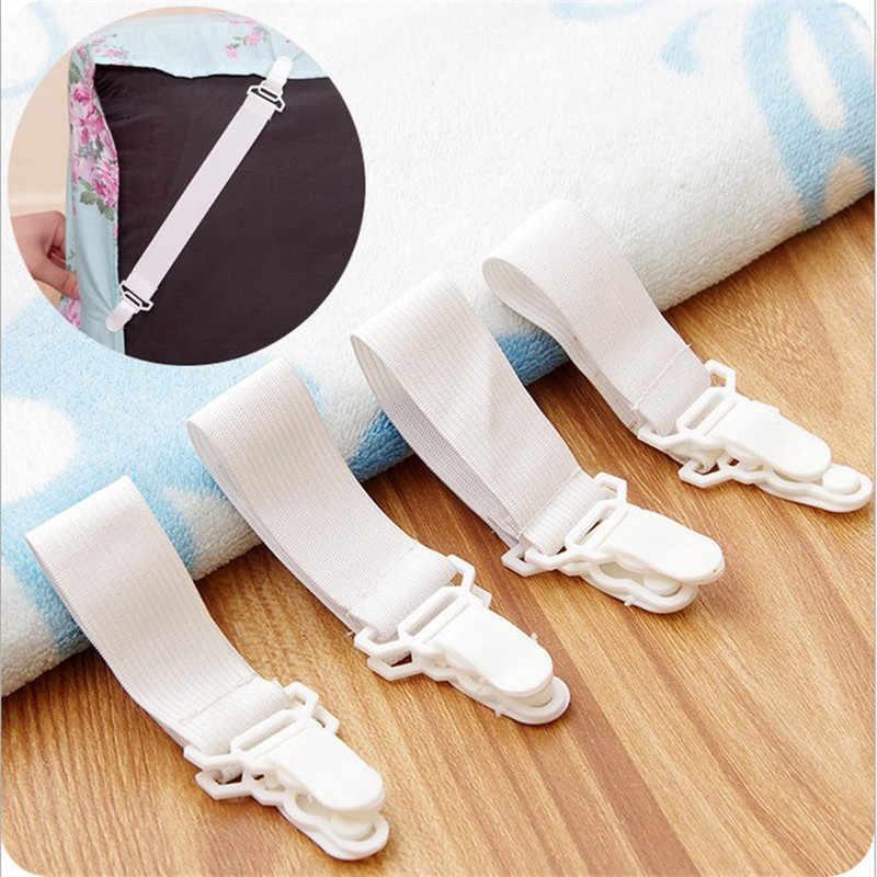 4Pcs สีขาวเตียงแผ่นที่นอนผ้าห่มบ้าน Grippers ตัวยึดสายรัดยึดกันลื่นเข็มขัด