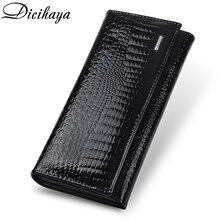 Thinfaixa carteira feminina de couro legítimo, carteira longa feminina modelo jacaré feita em couro legítimo de alta qualidade