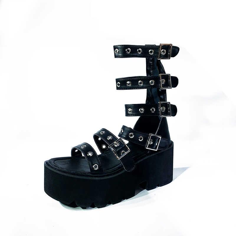 Nuevo Mujeres Sandalias De Plataforma Tacones grueso Gótico Discoteca Punk Zapatos Gladiador B