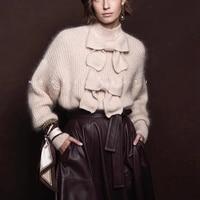 2019 Designer Bow Sweater Women Plus Size Pullover Female Turtleneck Knit Jumper Sweaters Ladies Autumn Winter Warm Tops Fashion