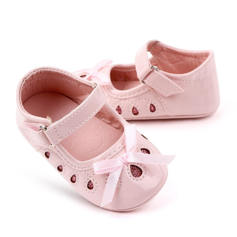 Polwer Baby Girls Crib Shoes Newborn Toddler Mary Jane Prewalker Flower Sandals