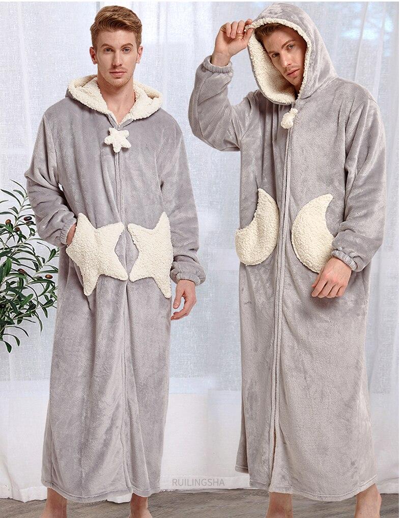 Bathrobe Dress-Gown Kimono Hooded Night-Wear Fleece Zipper Sleepwear Flannel Thick Long