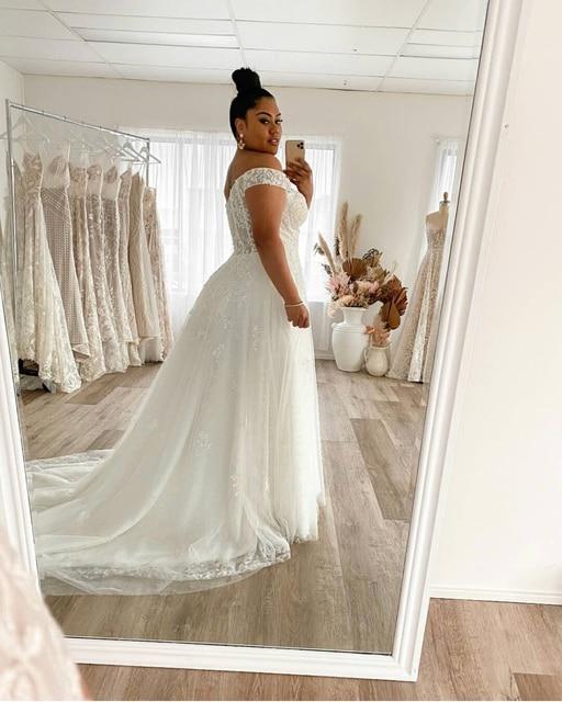 Wedding Dress Plus Size A-Line Off The Shoulder Lace Applique Tulle Backless Robe De Mariée Orienta Sweep Train Gown Custom Made 3