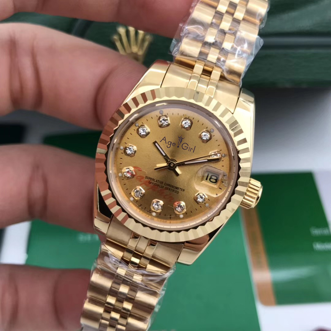 Luxury Brand New Stainless Steel Sapphire Watch Women Lady Automatic Mechanical Diamond Silver Gold Black White Datejust 26mm