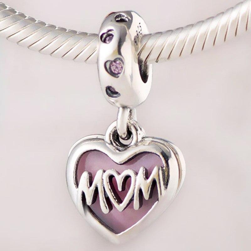Pulsera Pandora con dije de Plata de Ley 925 con cuentas de corazón con I Love You y esmalte Rosa Original