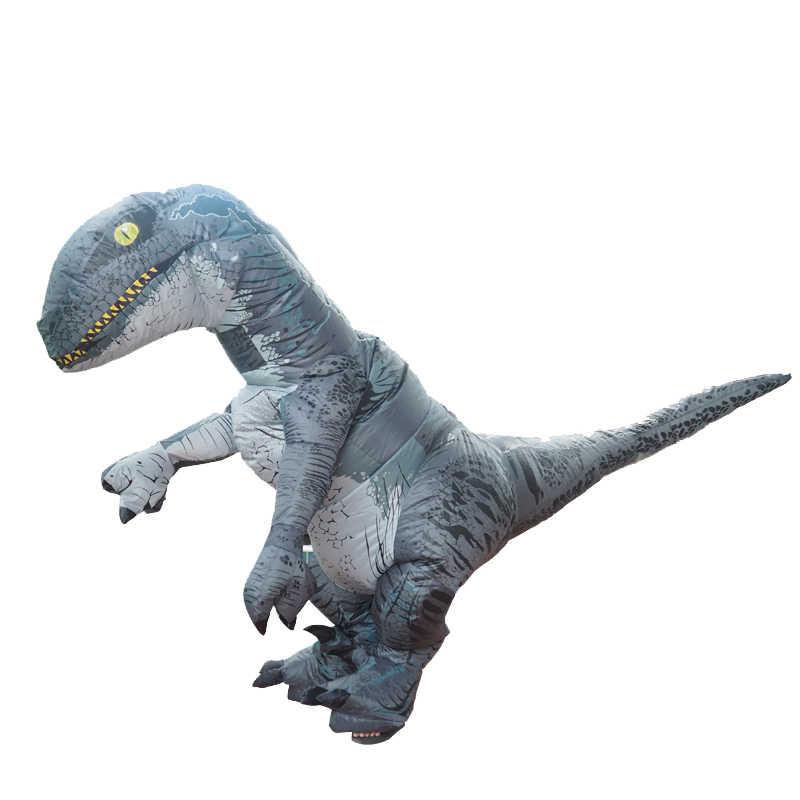 Мир Юрского периода 2 Велоцираптор Костюм надувной T REX динозавр костюм Хэллоуин Косплей Взрослый фантазия Раптор талисман костюм