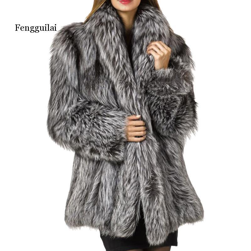 Automne et hiver mode nouveau manteau de fourrure Imitation velours dans la longue Section de manteau de fourrure femme en vrac épais chaud gris argent