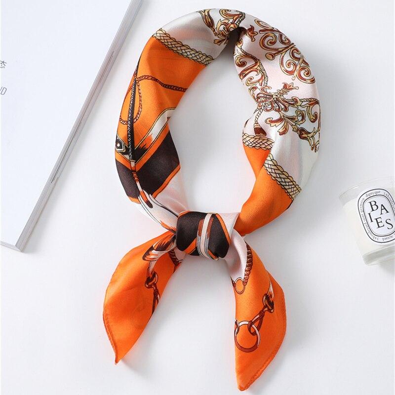 2020 Women Silk Neck Hair Scarf Designer Musical Note Print Lady Square Foulard Headband Accessories Hand Neckerchief Scarves