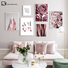 Scandinavian Fashion Poster Rose Flower Feather Nordic Style Wall Art Canvas Print Painting Modern Living Room Decor Picture(China)