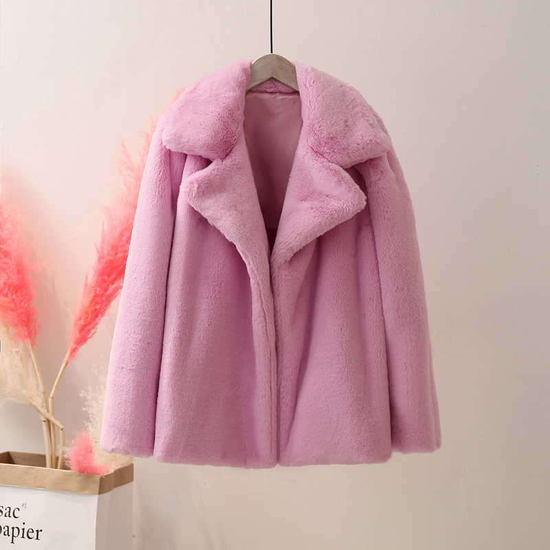 ZADORIN Plus Size Preppy Style Women Winter Warm Furry Loose Pink Faux Fur Coat Solid Lapel Fake Fur Jacket Female Outerwear
