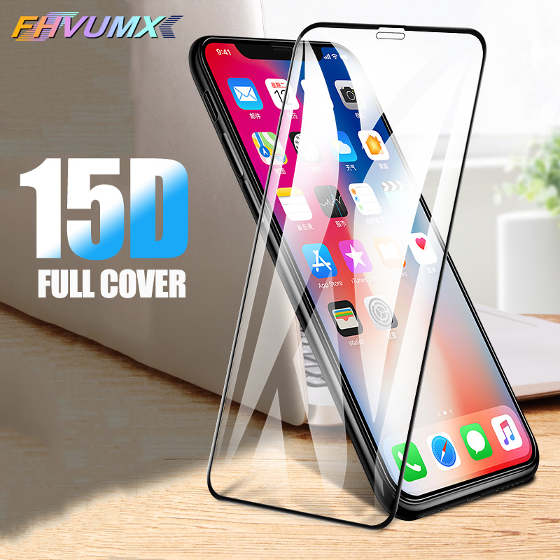 15D Protective Glass On The For IPhone X XS 11 Pro Max XR Glass Safety Full Cover IPhone 6 6s 7 8 Plus Tempered Screen Protector