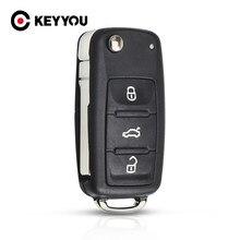Substituição para vw volkswagen golf mk6 tiguan polo passat cc assento skoda octavia 3 botão dobrável caso escudo chave do carro fob