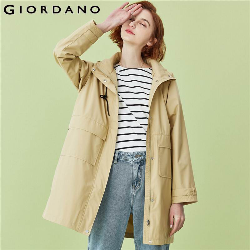 Giordano Women Jackets Raglan Sleeves Hooded Long Windbreakers Polyester Zip Front Solid Warm Casaco Feminino 05370719