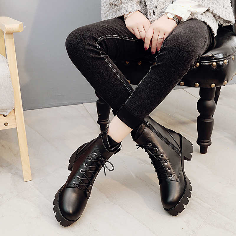 Fujin/женские ботинки; ботильоны на платформе; Новинка 2019 года; Осенняя обувь с круглым носком; шерстяные зимние ботинки; Стрейчевые ботинки; женская зимняя обувь высокого качества