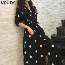 VONDA Bohemian Printed Dress Plus Size Women Vintage 3/4 Sleeve Party Maxi Long Dress 2020 Summer Beach Sundress Casual Robe(China)