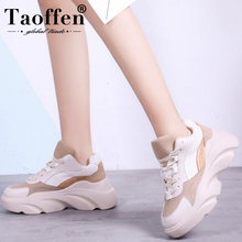 Taoffen New Women Sneakers Casual Mixed Color Lace Up Wedges Platform Vulcanized Shoes Vacation Hiking Size 35-40