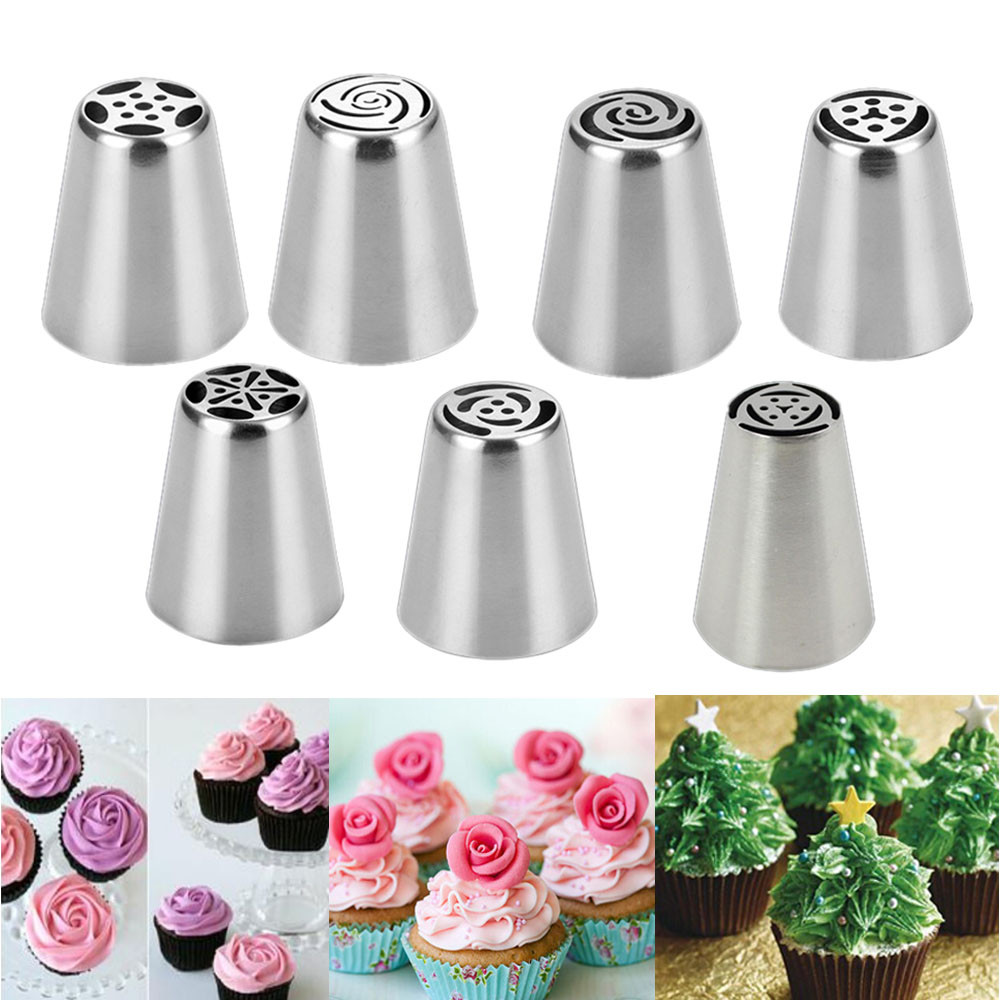 7pcs Russian Leaf Flower Icing Piping Nozzles Pastry Tips Cake Decor Baking Tool