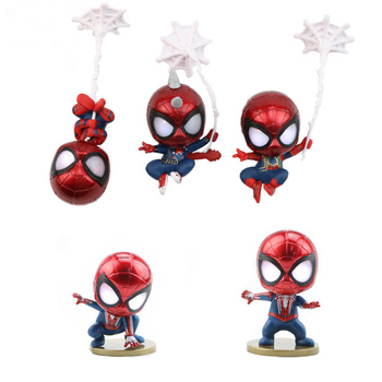 5pcs/set Q Version Cosbaby Marvel Spiderman Action Figure With Light Car Home Decoration Mini PVC Figure Model Doll Toys j ghee spider man hero back homecoming spiderman q version pvc figure car decoration model doll toys brinquedos christmas gift