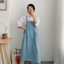 Denim Strap Dress 2019 New Popular Korean Version of Loose Summer Temperament Casual Dress Female цена
