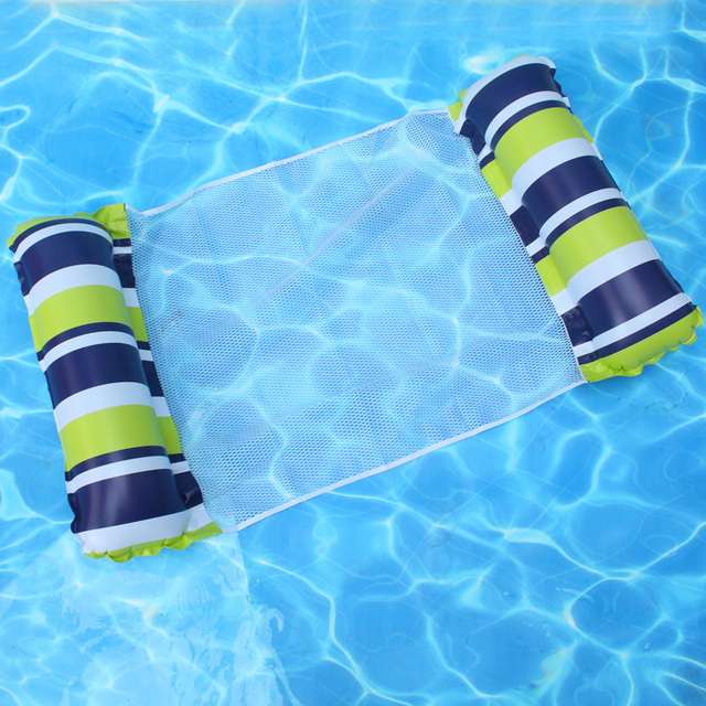 Inflatable Floating Bed Air Mattress PVC Water Hammock Recliner Stripe Mesh Beach Foldable for Swimming Pool Water Amusement 5