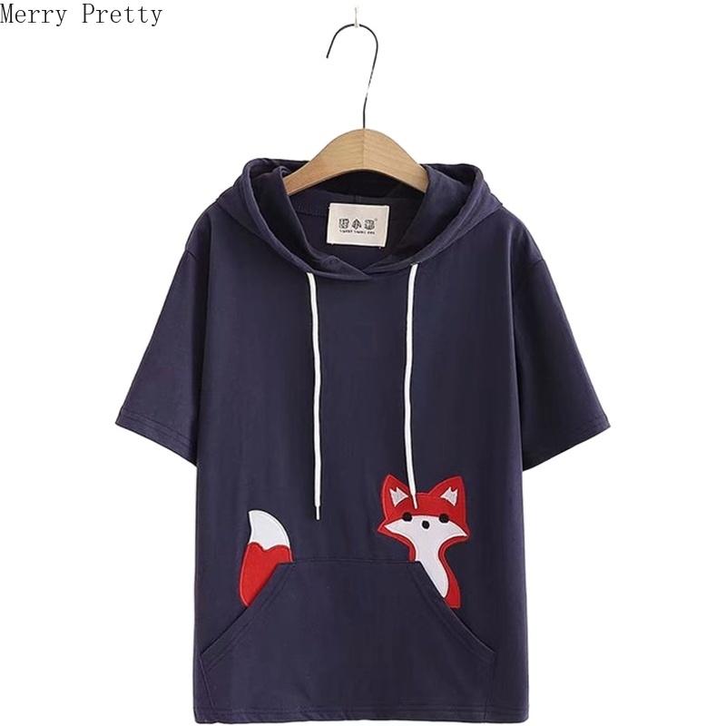Women's Cartoon Fox Embroidery Hooded Sweatshirt Short Sleeve Pocket Hoodies 2020 Spring Sweet Style Cute Tracksuit Pullovers