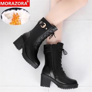 Image 2 - Morazora 2020 botas de couro genuíno quente mulheres zip fivela de lã de ovelha quente botas de neve alta heela inverno plataforma tornozelo botas senhora