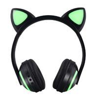 Lovely Bluetooth Animal Ear Headphones Women Flashing Glowing Cat Ear Headphones Gaming Headset LED Light Earphone D20