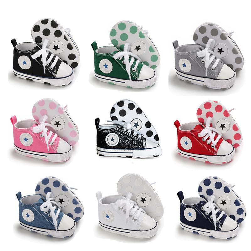 Newborn First Walkers Crib Shoe White Soft Anti-Slip Sole Unisex Toddler Casual Canvas Baby Infant Boy Girl Shoes