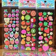 3 шт./лот детей пузырь Пуффи тетрадь наклейки Kawaii фрукты клубники Дети школьные награды, подарок детский сад образование игрушки