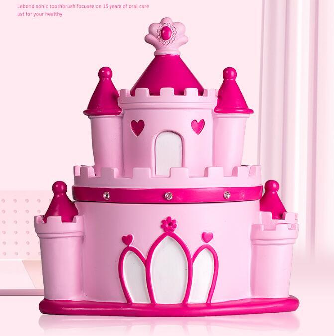 Pink Castle Design Baby Souvenirs Teeth Storage Box Children Milk Teeth Organizer Box Resin Style Storage Box  Save Box ZL229