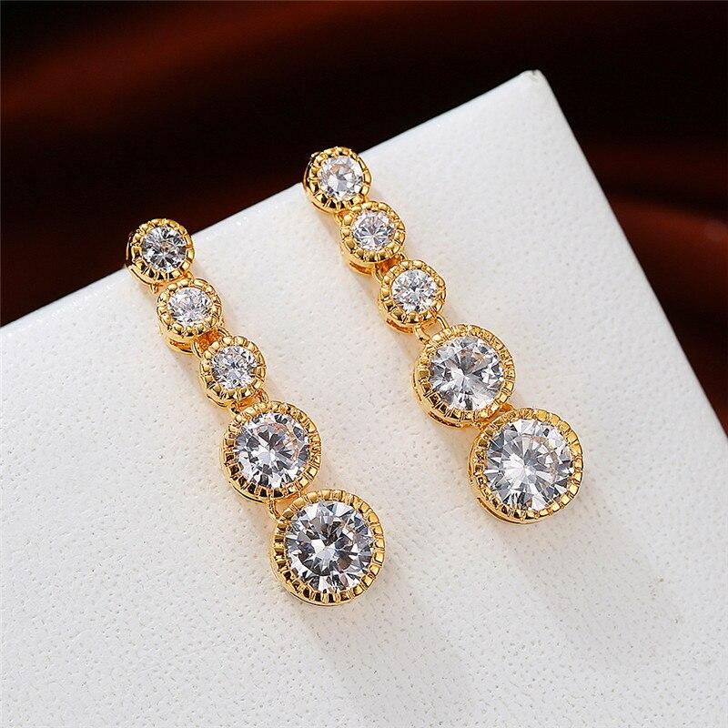 Luxury Female White Crystal Stone Earrings Classic Round Long Dangle Earrings Rose Gold Silver Color Wedding Earrings For Women