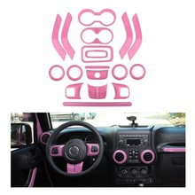 (PINK 18PCs) Car Decoration Steering Wheel & Center Console Air Outlet Trim for Jeep Wrangler JK JKU 2011-18(China)