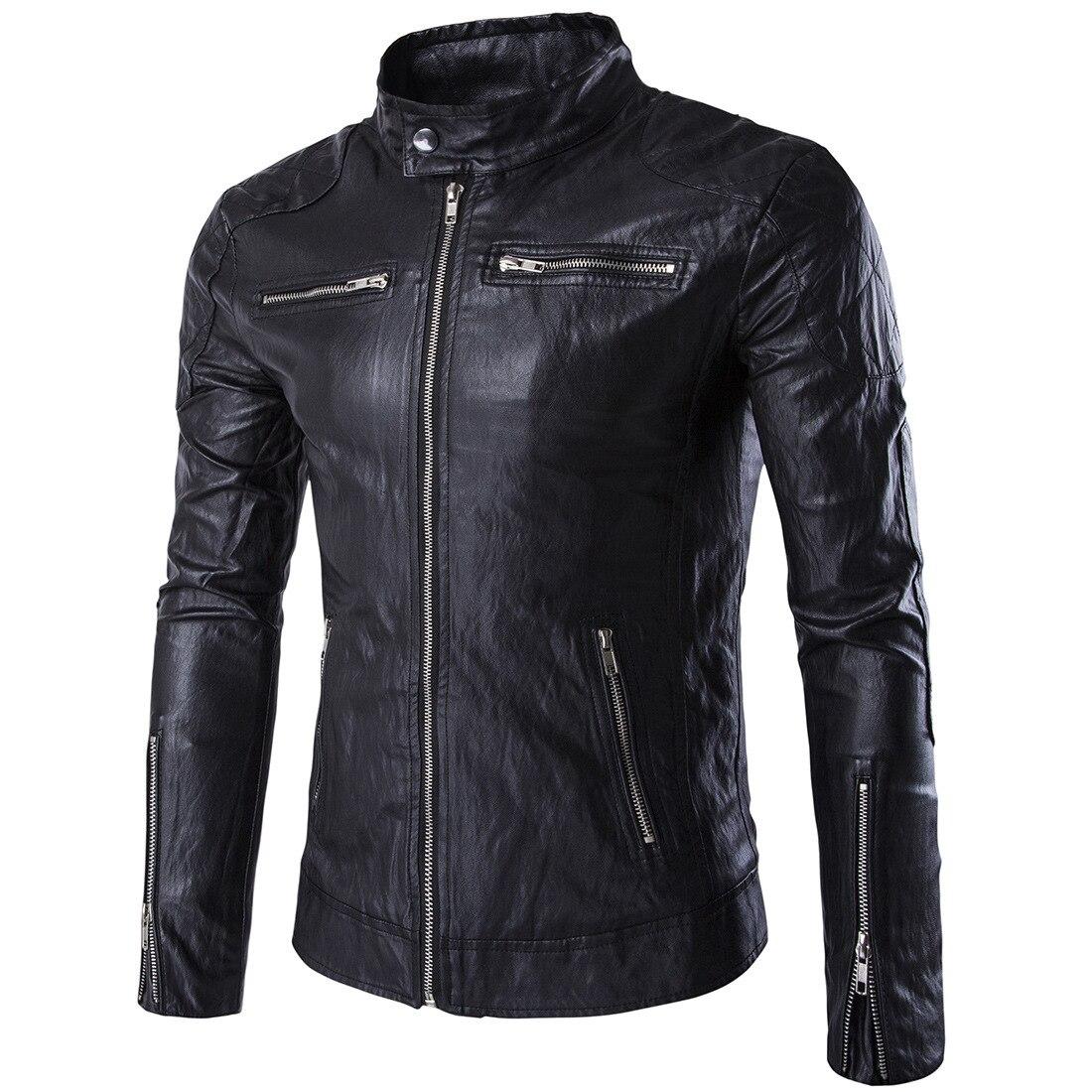 2016 Autumn Men Stand Collar Locomotive Leather Jacket-Style Fashion Man Large Size Leather Jacket Coat Men'S Wear