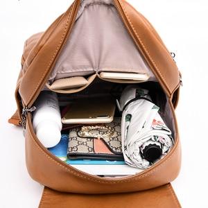 Image 5 - 2019 della copertura di vibrazione zaino Femminile delle donne di Alta qualità borsa in pelle mochila feminina zaino da viaggio delle Donne Sac a Dos Femme sacchetto di scuola