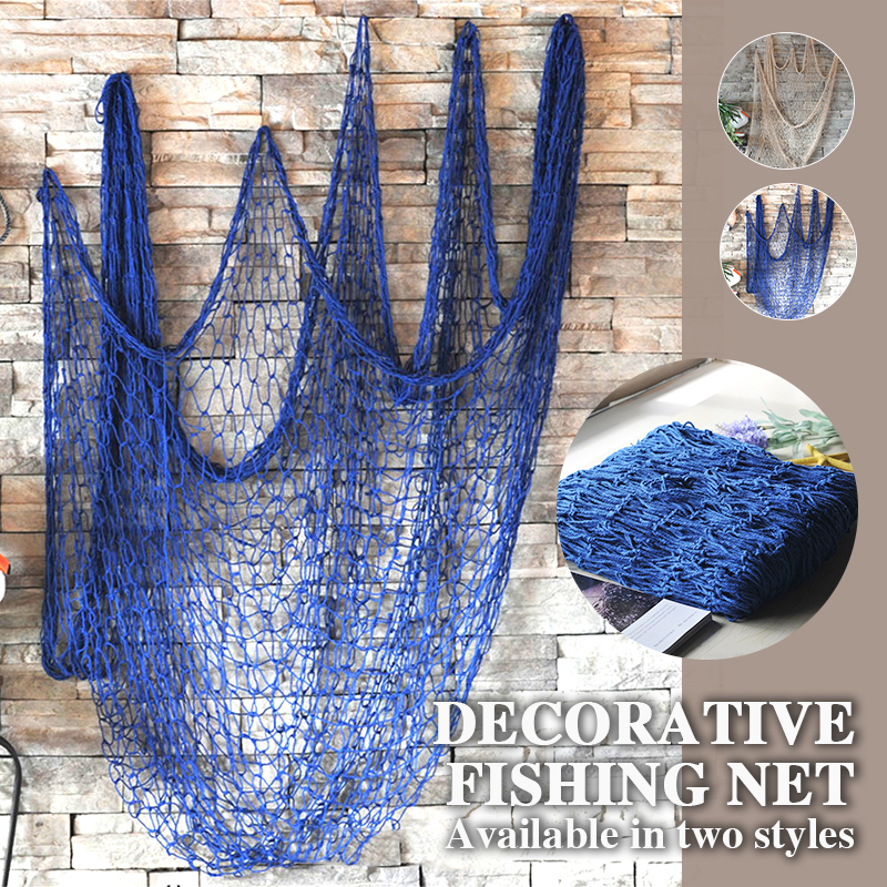 Decorative Fishing Net Nautical Ocean Theme Home Decor Wall Decoration Ceative Blue/Beige Hemp Rope 1*2M Mediterranean