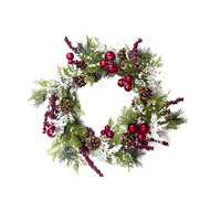 Christmas Wreath With Artificial Pine Cones Berries And Flowers Holiday Front Door Hanging Decoration Wreath Rattan