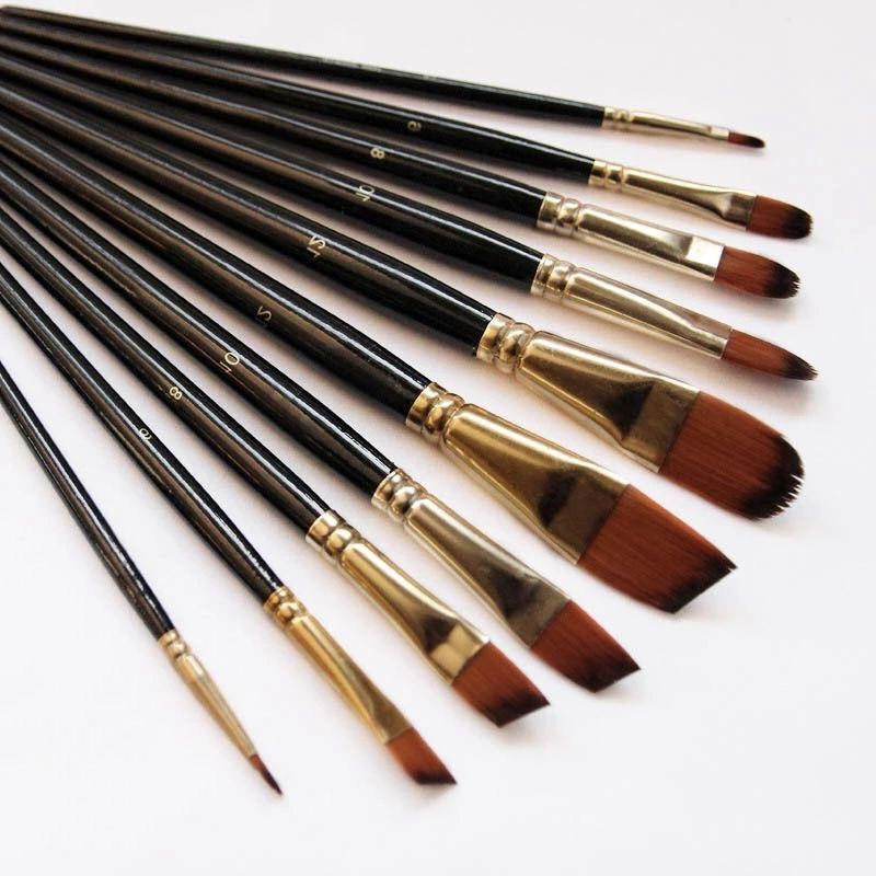 5Pcs Artist Paint Brush  High Quality Nylon Hair Wood Black Handle Watercolor Acrylic Oil Brush Painting Art Supplies