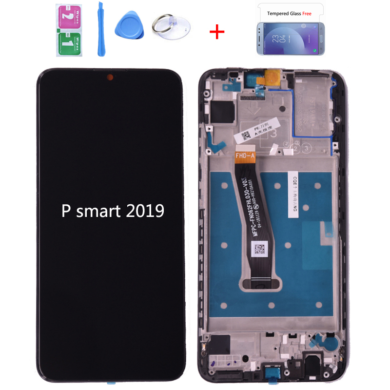 100% original para huawei p smart 2019 display lcd com tela de toque digitador assembléia com quadro para p inteligente 2019 reparação parte