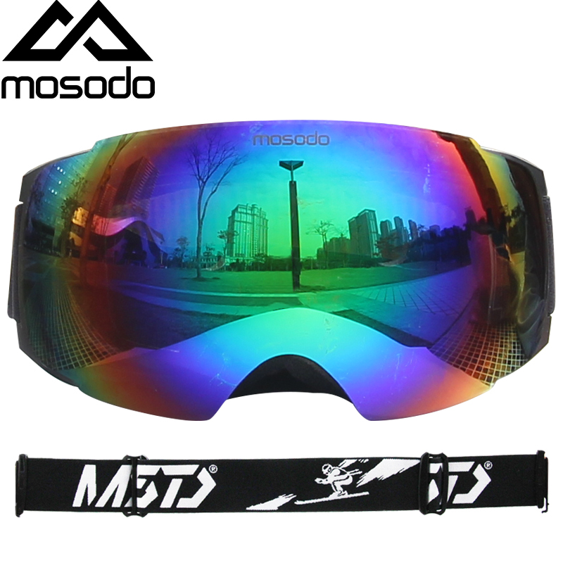 Mosodo Magnet Ski Goggles Men Women Snowboard Snowmobile Anti-fog Skiing Snow Large Spherical Winter Ski Glasses Eyewear Box