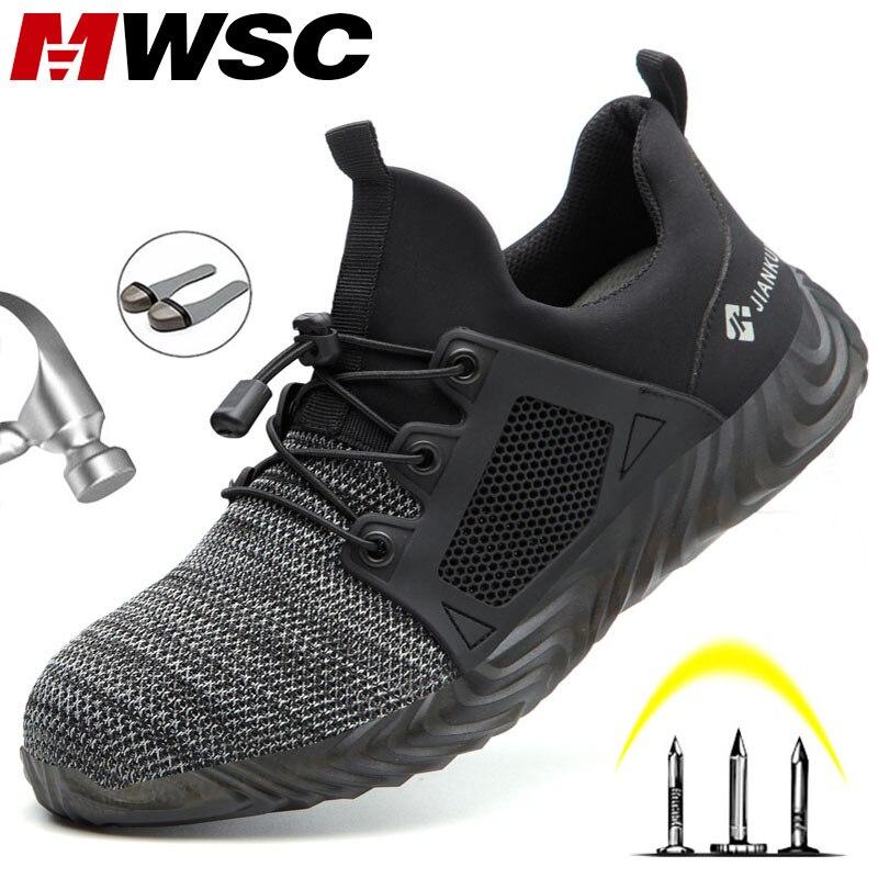 MWSC/Безопасная рабочая обувь для мужчин; всесезонные ботинки; небьющиеся ботинки; обувь со стальным носком; Рабочая обувь; мужские безопасны...