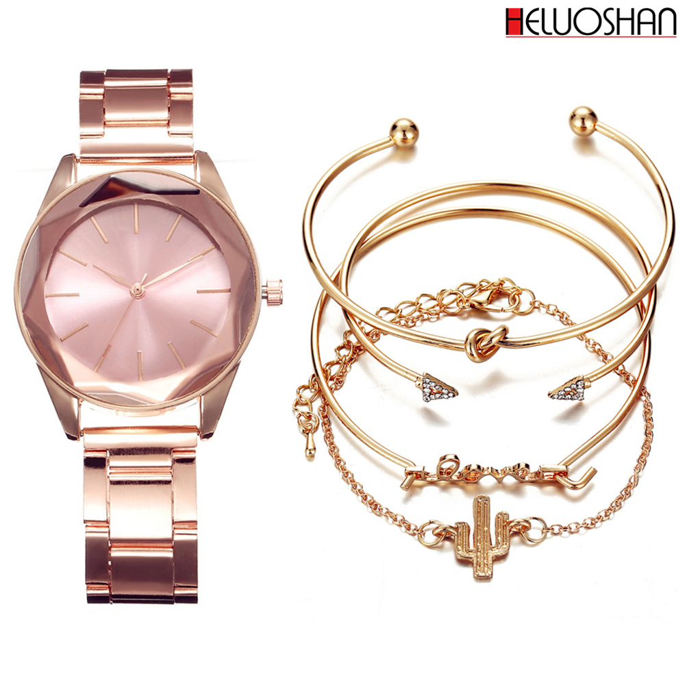 5pc/set Luxury Brand Wristwatches Women Stainless Steel Band Dress Watches Ladies Quartz Watch Relogio Feminino Bracelet Reloj